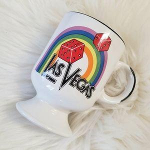 B2G1 VTG Las Vegas Rainbow Ceramic Pedestal Mug
